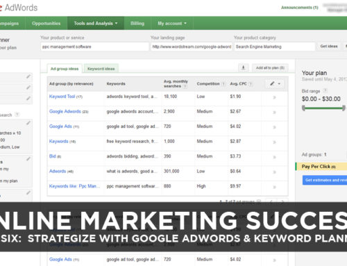 Online Marketing Success – Step Six: Strategize with Google AdWords & Keyword Planner