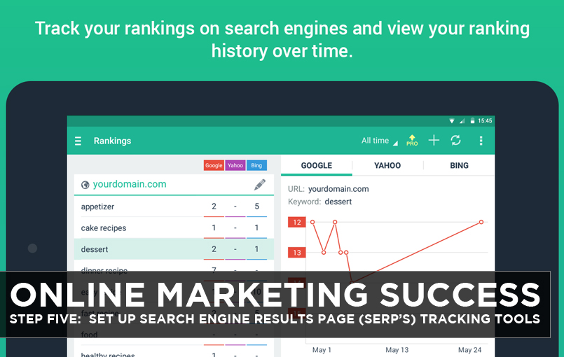 Online Marketing Success – Step Five: Set up Search Engine Results Page (SERP's) Tracking Tools